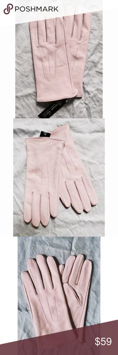 """Pale Pink SOFT NAPPA LEATHER Knit-lined Glove NWT *available in Sz S/M and M/L** Esteemed Italian Glovemaker Giovanni Vecchi known for both the smoothest Leathers he chooses and the designs for women. His stores sell gloves- only Gloves. These are the softest NAPPA leather and come 2"""" above nipped wrist.  Size S/M expect a slim, elegant fit.  Such an easy gift- Afforable luxury. The unusual quiet pink shade works for Ladies and Fashion Girls alike.  Ret $72.  Send a note with your size so I…"""