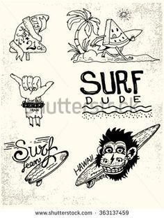 Set of vintage surfing and skateboarding. Labels, badges and design elements.