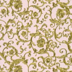 Antique gold metallic Baroque-style trailing florals rest on a pearlised rose gold background in this beautifully-textured luxury wallpaper from Versace at Go Wallpaper.