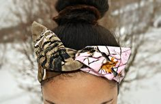 Pink Real Tree Camouflage Dolly bow, head band, hair accessory made with cotton real tree fabric. Sewn folded about 33 1/2 long with wire insert for