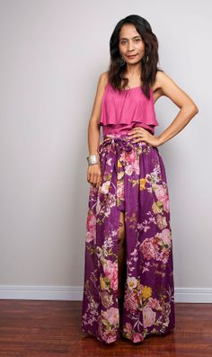 Purple Floral Wrap Skirt / Floor Length Skirt /  Skirt by Nuichan, $55.00