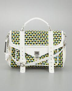 PS1 Woven Leather Medium Satchel Bag, Sunshine/White by Proenza Schouler at Bergdorf Goodman.