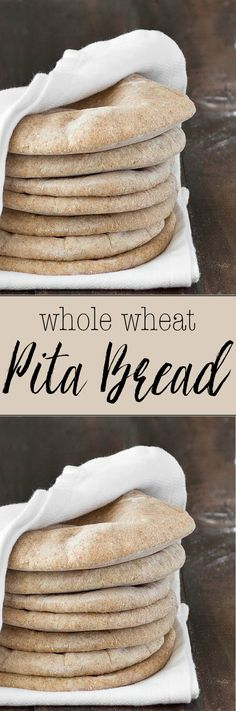 Homemade Whole Wheat Pita Bread is part of pizza - Homemade whole wheat pita bread serve it with hummus or fill it up with whatever you prefer Super easy to make, soft, chewy and so good! Naan, Whole Wheat Pita Bread, Whole Wheat Biscuits, Whole Wheat Tortillas, Whole Wheat Flour, How To Make Bread, Bread Baking, Bread Food, Baked Goods