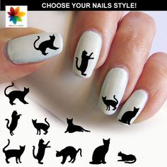 cat silhouette,  kitten, cat, puppy, 90 nail transfer,  crystal clear background, different  size