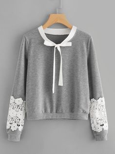 Shein Contrast Crochet Bow Tie Neck Marled Sweatshirt - Sweat Shirt - Ideas of Sweat Shirt - Shop Contrast Crochet Bow Tie Neck Marled Sweatshirt online. SheIn offers Contrast Crochet Bow Tie Neck Marled Sweatshirt & more to fit your fashionable needs. Crochet Bow Ties, Crochet Lace, Hijab Fashion, Fashion Outfits, Fashion Styles, Fashion Clothes, Fashion Fashion, Fashion Ideas, Vintage Fashion