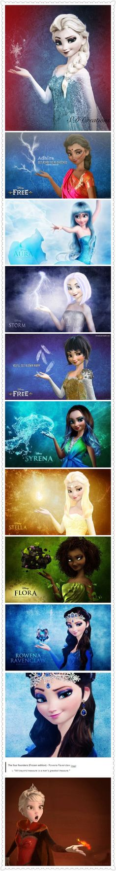 Frozen~ different Elsas -- yay in pinterest form now