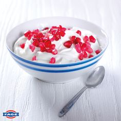 Sweet pomegranate pearls mixed with FAGE Total.