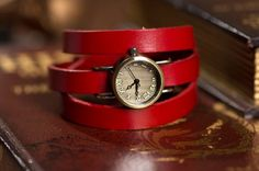 Red women's leather wrapped watches, bracelet, OSX1003R - $12.50   odonatum - Accessories on ArtFire
