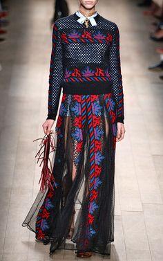 Veletta Tribal Stripes Long Skirt With Sheer Panels by Valentino for summer 2014