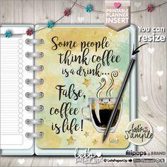 Insertion d'agenda, organisation Insert, diviseur de planificateur, planificateur citations, Erin Condren, planificateur tableau de bord, planificateur de Kawaii, diviseur, café Plus