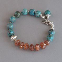 Sunstone Turquoise Gemstone Solid Sterling Silver Bead Bracelet Sundance, $78.99, DJStrang Jewelry