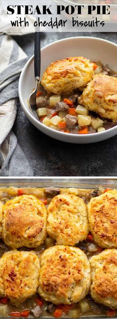 Beef Dishes, Food Dishes, Main Dishes, Beef Pot Pies, Beef Recipes, Cooking Recipes, Beef Gravy, Cheddar Biscuits, Yummy Food