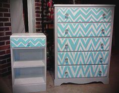 Chevron dresser and nightstand- turquoise, grey, and white www.thevintagebutterflyonline.com