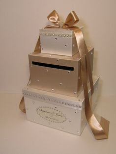 Champagne and Ivory  Wedding Card Box Gift Card Box Money Box Holder--Customize your color