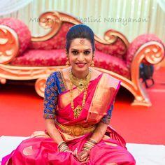 South Indian bride. Temple jewelry. Jhumkis.Pink silk kanchipuram sari.Braid with fresh flowers. Tamil bride. Telugu bride. Kannada bride. Hindu bride. Malayalee bride.Kerala bride.South Indian wedding.