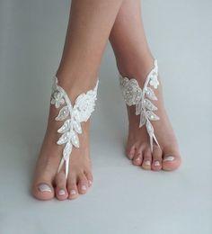Ivory lace barefoot sandals Bridal shoes Wedding s Navy Wedding Shoes, Glitter Wedding Shoes, Designer Wedding Shoes, Lace Wedding, Barefoot Sandals Wedding, Bridal Sandals, Bridesmaid Sandals, Bridesmaid Color, Bridesmaid Ideas