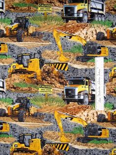 Print Concepts Fabric - Caterpillar Construction Machines on Gravel Dirt /Yd #PrintConcepts
