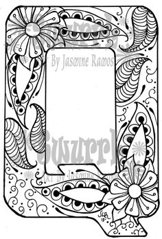 Instant Download Coloring Page Monogram Letter Q by Swurrl on Etsy, $0.99