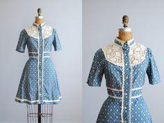 70's Gunne Sax Blue Medallion and Vine Print Short Floral Mini Dress