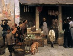 Chinatown Market, San Francisco, 1878  by Mian Situ