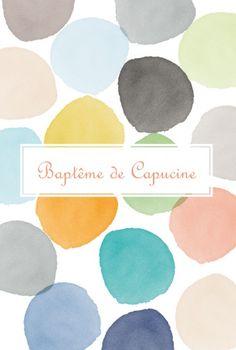 Menu de baptême (baptism menu) : Menu Aquarelle - by Tomoë pour http://www.FairepartNaissance.fr #bapteme #menu #baptism Don't know what it says but LUV the colors!