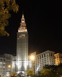 Cleveland Skyline at Night . Terminal Tower Complex