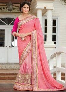 Urbane Net Pink Designer Half N Half Saree
