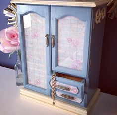 Robin's egg blue shabby chic jewelry box- vintage upcycled