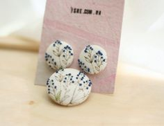 blue ink berries earrings and matching brooch hand embroidery fabric cover #accessories #jewelery