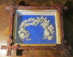 Antique Shell Bridal Wreath Shadow Box, Circa 1880. Seashell Art, Shadow Box, Diy Art, Wedding Stationery, Sea Shells, Diy And Crafts, Carving, Wreaths, Bridal