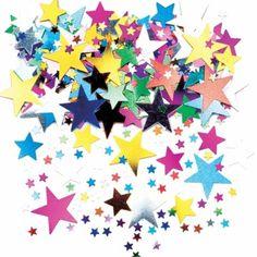 Confettis étoiles multicolores métallisées