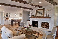 interior design, color design, living rooms, fireplac, as seen on hgtv fixer upper, sweet decor, ceiling beams, live room, wood beams