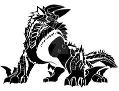 The complete drawing of Zinogre from Monster Hunter. I'm just getting into tribal art lately and it's really fun to do so I'll be posting more tribal st. Monster Hunter Series, Monster Hunter Art, Fantasy Creatures, Mythical Creatures, Fantasy Warrior, Fantasy Art, Tattoo Dragon And Phoenix, Monster Hunter World Wallpaper, Cute Love Pictures