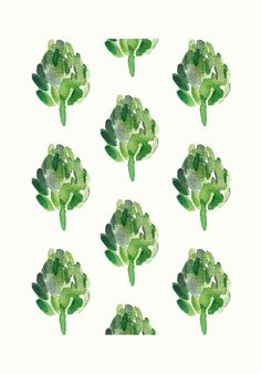 Artichokes  Art Print  limited edition moss green by TheJoyofColor, $21.00