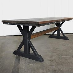 Vintage Industrial Table, Modern Industrial Table, Trestle Table, Table With Woo. - Mesas madera y hierro - Industrial Table, Modern Industrial, Vintage Industrial, Vintage Wood, Trestle Table, Dining Table, Trestle Legs, Mesa Metal, Live Edge Tisch