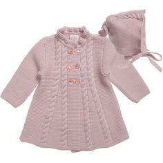 Paz Rodriguez Baby Girls Pink Pram Coat and Bonnet   CHILDRENSALON