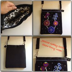 Purse I made from scrap projects that were never finished. Front of purse is beadwork on broadcloth, back of the purse is black leather. completely all hand sewn. designed and made by Jessica Gokey 2014
