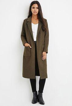 BLOGGER Forever 21 Olive Grecollared Longline Wool Blend Coat Overcoat Large L | eBay