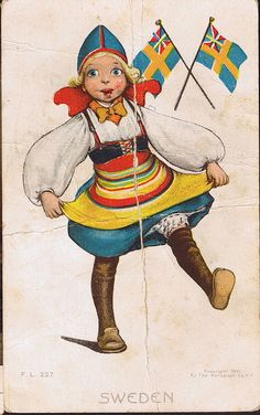 The Swedish Traditional costume is similar to the Latvian Traditional Costume. Sweden postcard by the rotograph co. N.Y. City,NY.