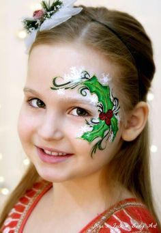 Easy christmas holly face painting design for girls, suitable for beginners. learn how to face paint this holly eye design with Face Painting Tutorials, Face Painting Designs, Paint Designs, Painting Videos, Simple Christmas, Holly Christmas, Christmas Face Painting, Cheek Art, Pin Up