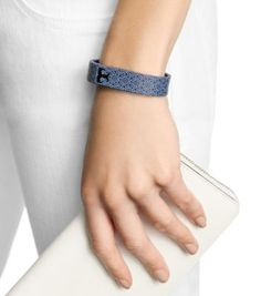 Tory Burch for Fitbit Silicone Printed Bracelet - TORY NAVY MULTI/SHINY BRASS