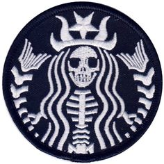 Dead Barista Mermaid Rockabilly Zombie Tattoo Goth Punk Patch ❤ liked on Polyvore featuring accessories
