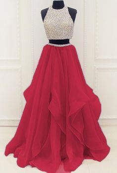 Fashion Two Pieces Beaded Deep Red Organza Prom Dress