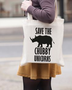 Save The Chubby Unicorns rhino canvas tote by BridgeEndPrint