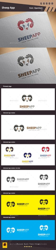 Sheep App Logo Template — Photoshop PSD #game #farm • Available here → https://graphicriver.net/item/sheep-app-logo-template/10823621?ref=pxcr
