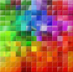 rainbow mosaic square tiles