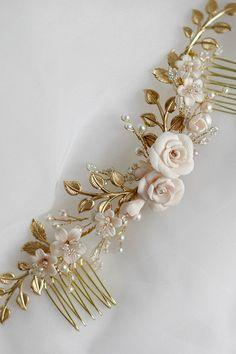 Isidora | Bridal Headpiece, Bridal Comb, Floral Headpiece, Whimsical Headpiece, Jonida Ripani