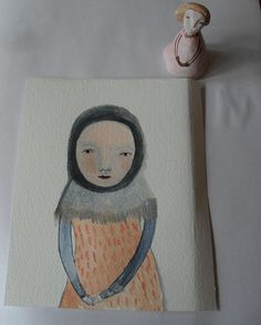 Clay doll and painting by Maidolls, via Flickr