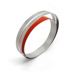 Claudia Hoppe - Small 1 Stripe Steel Hidden Treasure Bracelet - ORRO Contemporary Jewellery Glasgow