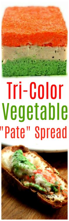 """Tri-Color Vegetable Spread. One layer of  Pesto-Ricotta, One layer of Garlicky White Bean puree, and one layer of Roasted Red Pepper - Feta puree.  IT IS """"OUT OF THIS WORLD"""" SO GOOD!"""